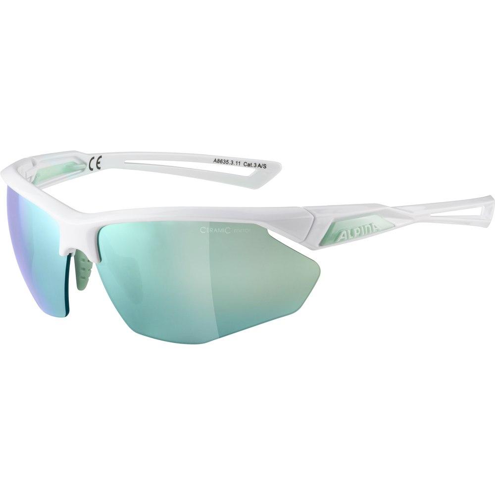 Alpina Nylos HR Glasses - white-pistachio/emerald mirror