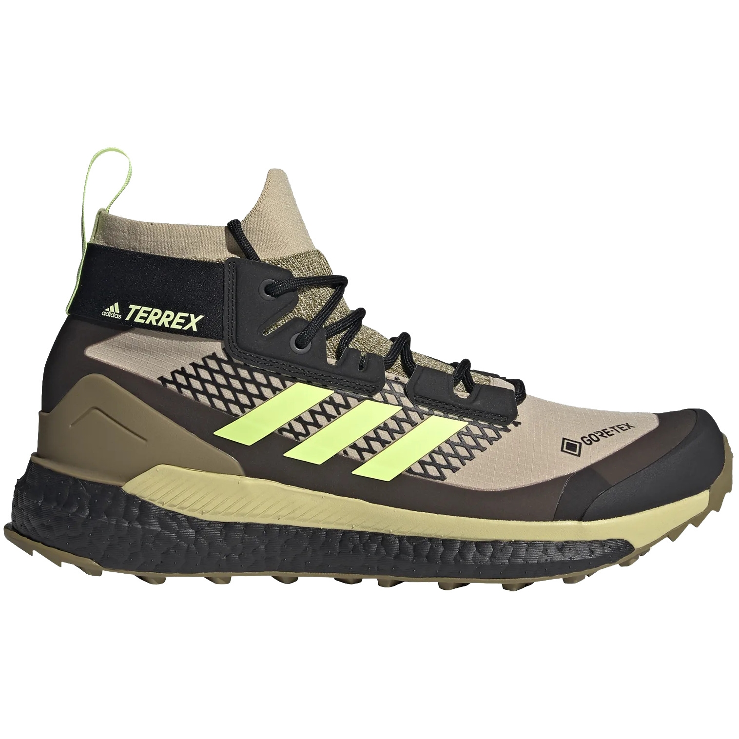 adidas Männer TERREX Free Hiker GORE-TEX Wanderschuhe - savanna/hi-res yellow/core black FX4509