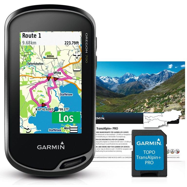 Garmin Oregon 700 GPS Navigation-Computer + TransAlpine+ PRO microSD Bundle - black