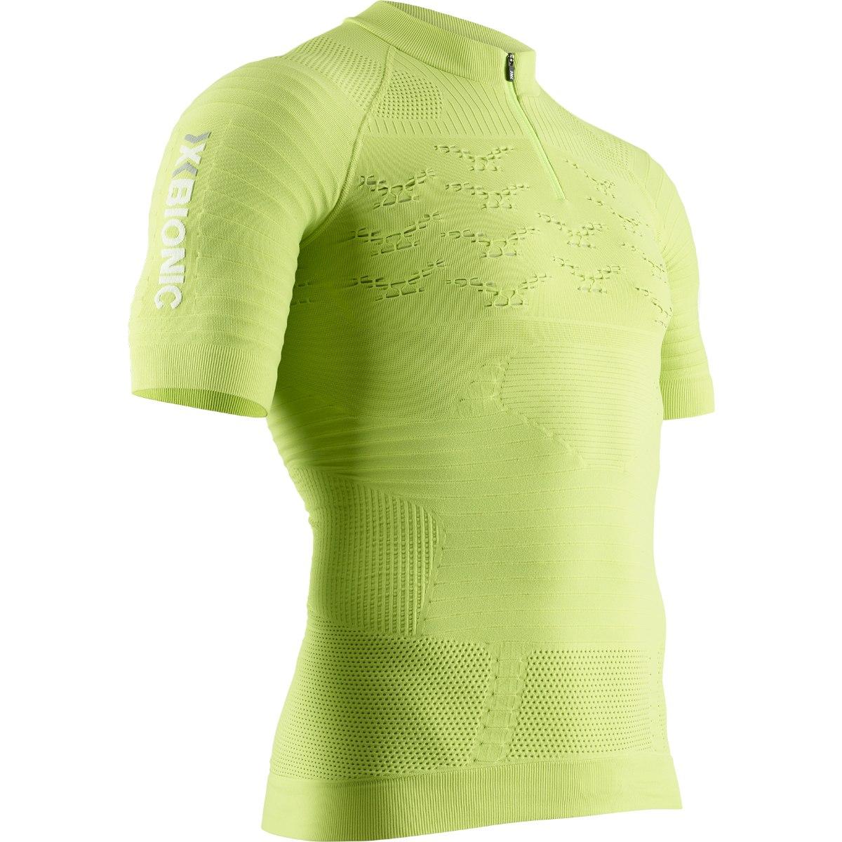 X-Bionic Effektor 4.0 Trail Run Powershirt 1/2 Zip Kurzarmshirt für Herren - effektor green/arctic white