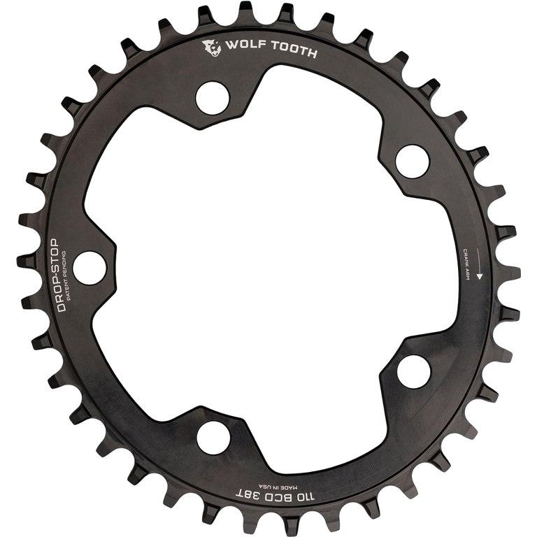 Wolf Tooth Elliptical Single Road/Cyclocross Flattop Kettenblatt 110mm - Drop Stop - schwarz