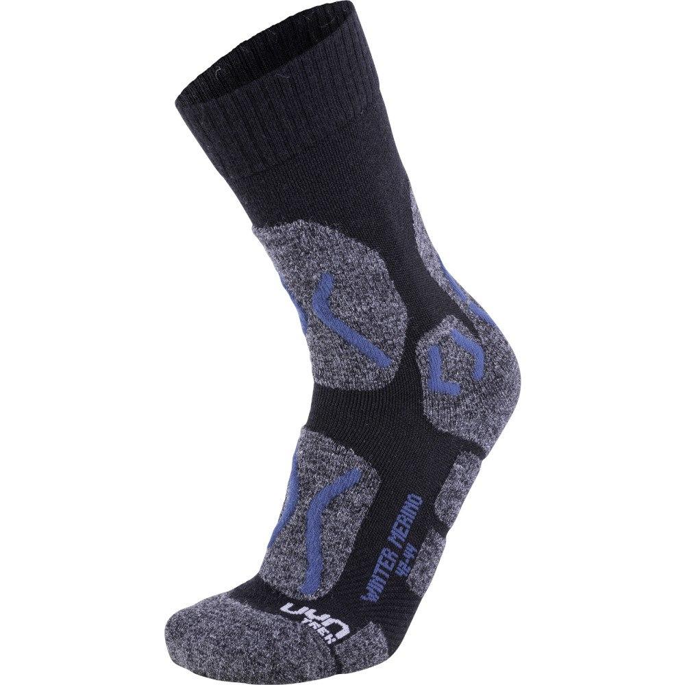 UYN Trekking Winter Merino Socken - Anthracite Melange/Petrol Blue
