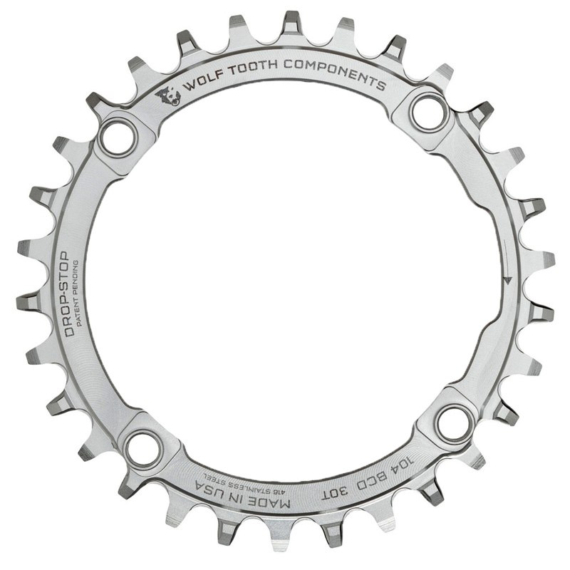 Wolf Tooth Single Chainring 104 - Stainless Steel - Drop Stop - silver