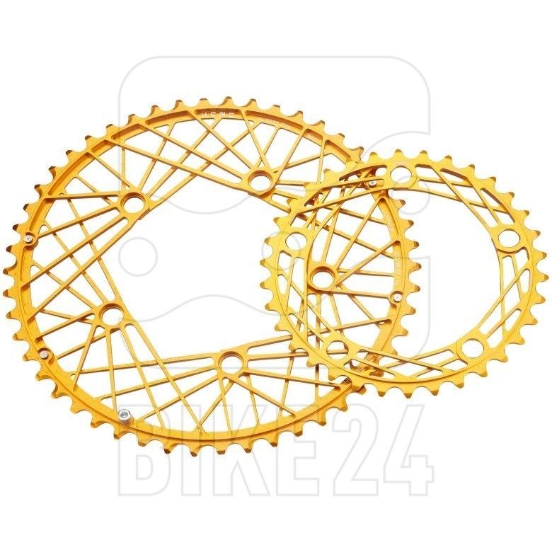 KCNC K6 Cobweb II Oval Road Chainring 110mm compact - gold