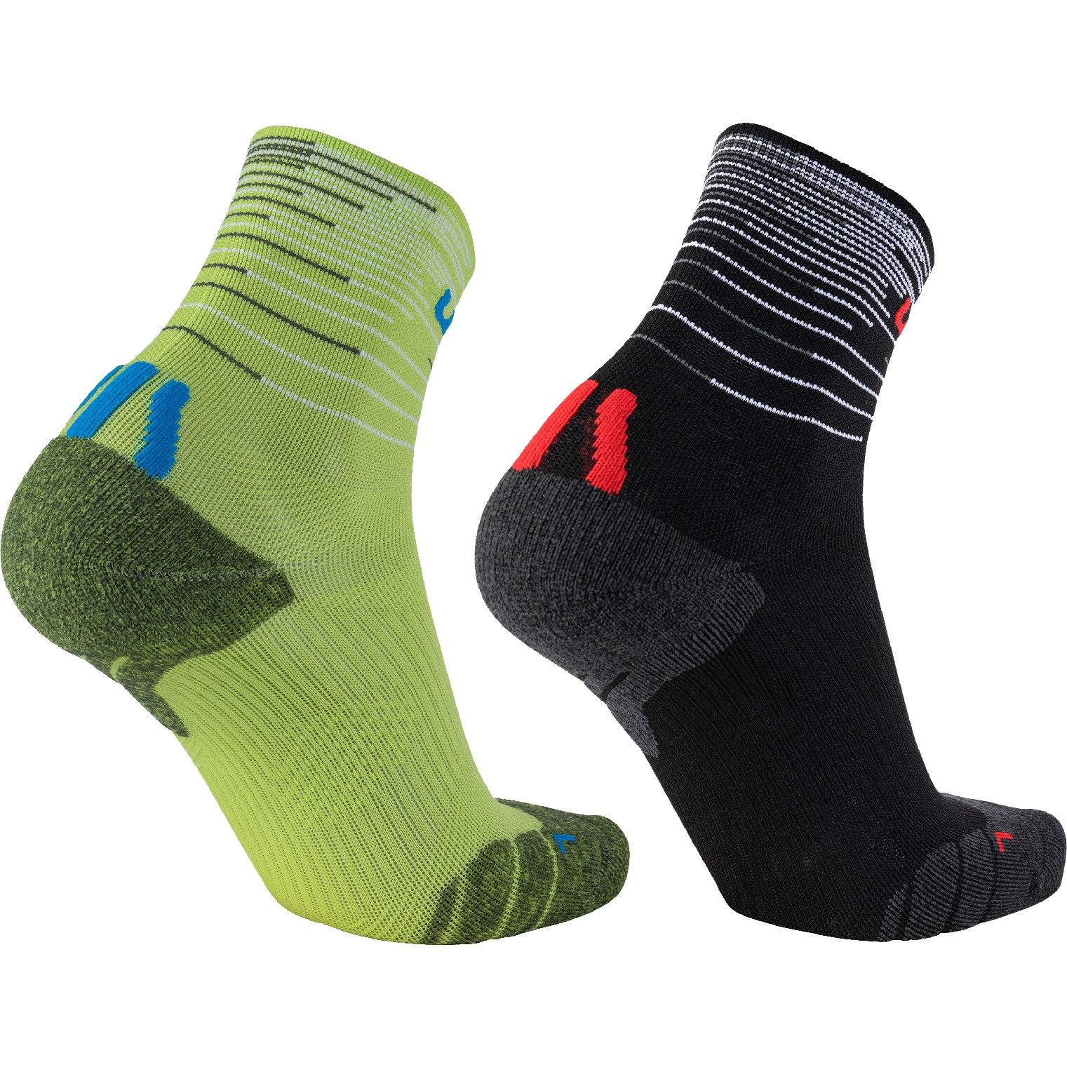 Bild von UYN Free Run Socken 2 Paar - Black/Red-Green Lime/French Blue