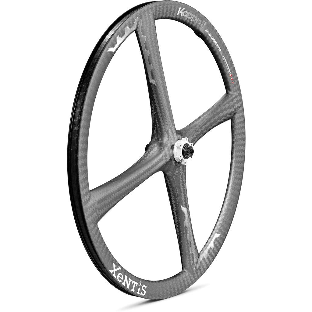 Xentis Kappa2 MTB - 26 Zoll Carbon Vorderrad - 6-Loch - QR - matt schwarz / weiß