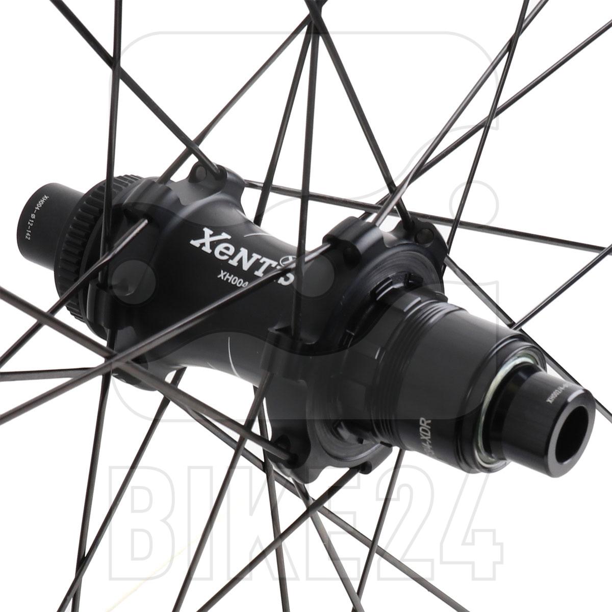 Bild von Xentis Squad 4.2 SL Tubeless Ready Scheibenbremse - Carbon Laufradsatz - Drahtreifen - Centerlock - VR: 12x100mm | HR: 12x142mm - SRAM/Shimano - matt schwarz / weiß