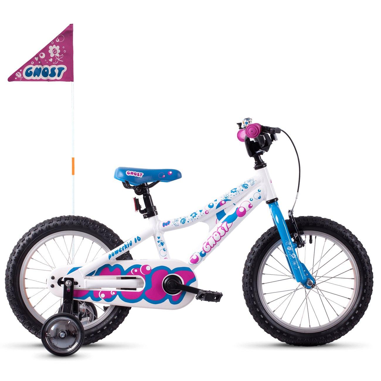 """Ghost POWERKID AL - 16"""" Kids Bike - 2021 - star white / riot blue / dark fuchsia pink"""
