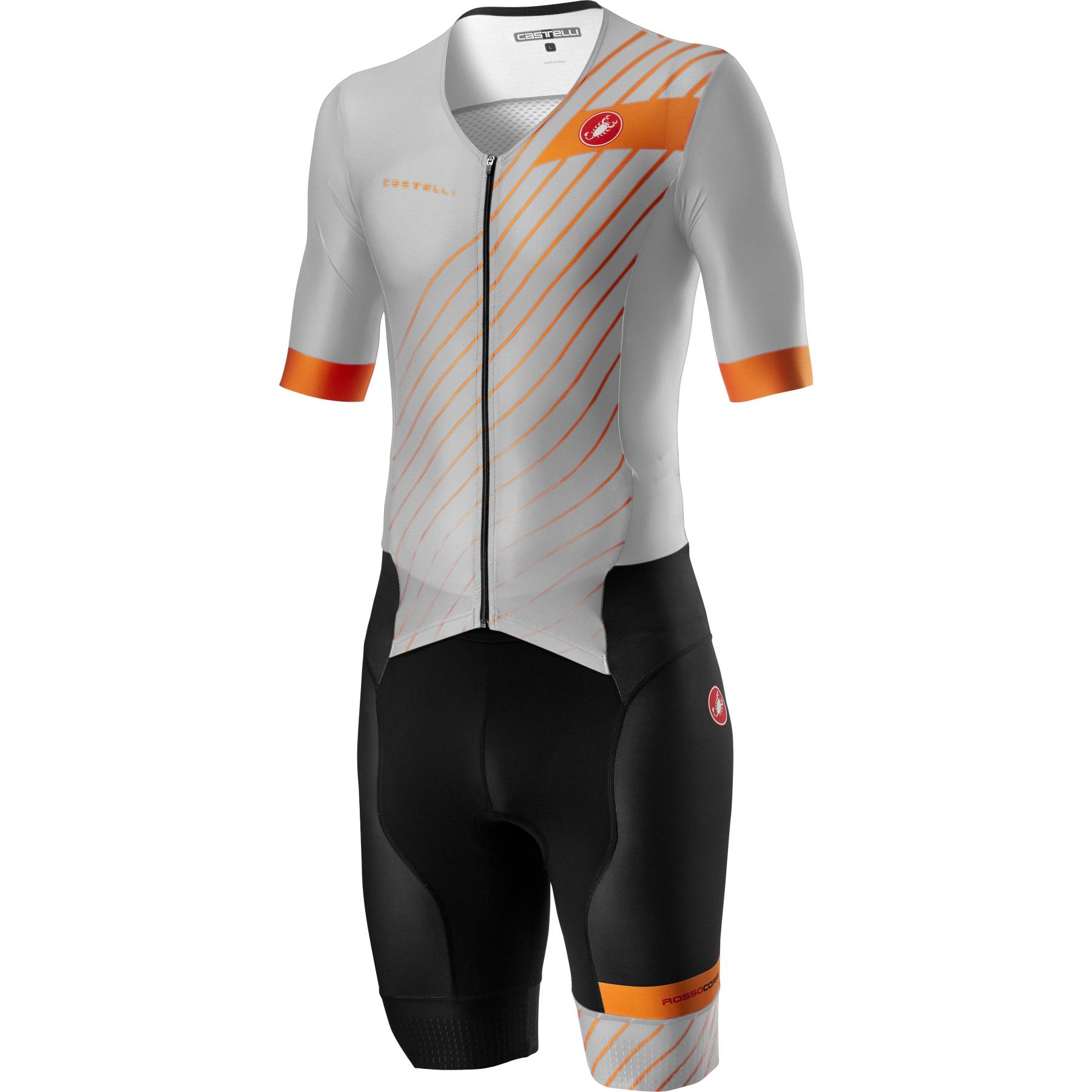 Castelli Free Sanremo 2 Suit Short Sleeve - silver grey/brilliant orange 870