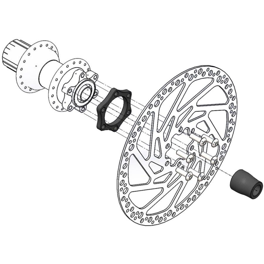 Wolf Tooth Boostinator DR Umbausatz auf Boost Standard 148mm für DT Swiss mit DT Star Ratchet Freilauf, Hinterrad - schwarz