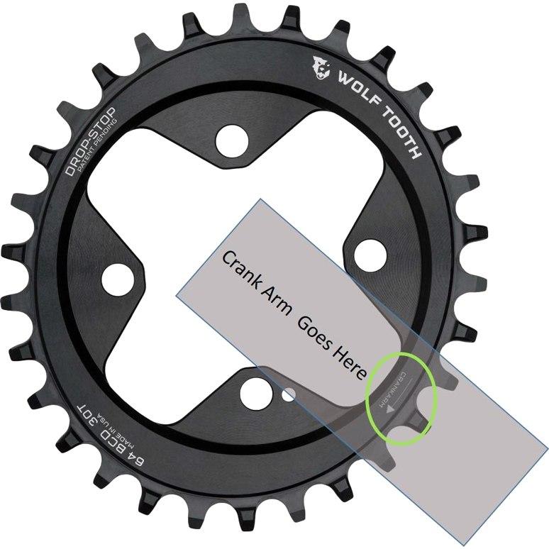 Bild von Wolf Tooth Elliptical - Single Kettenblatt 64mm - Drop Stop - schwarz