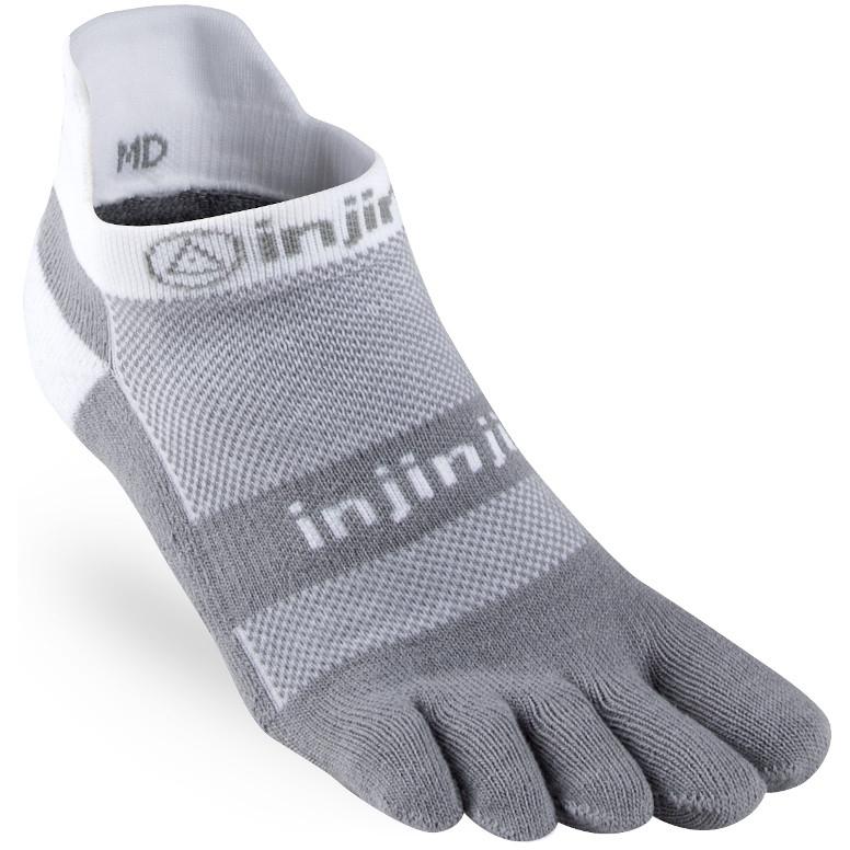 Injinji Run Midweight No-Show Socken - white/grey
