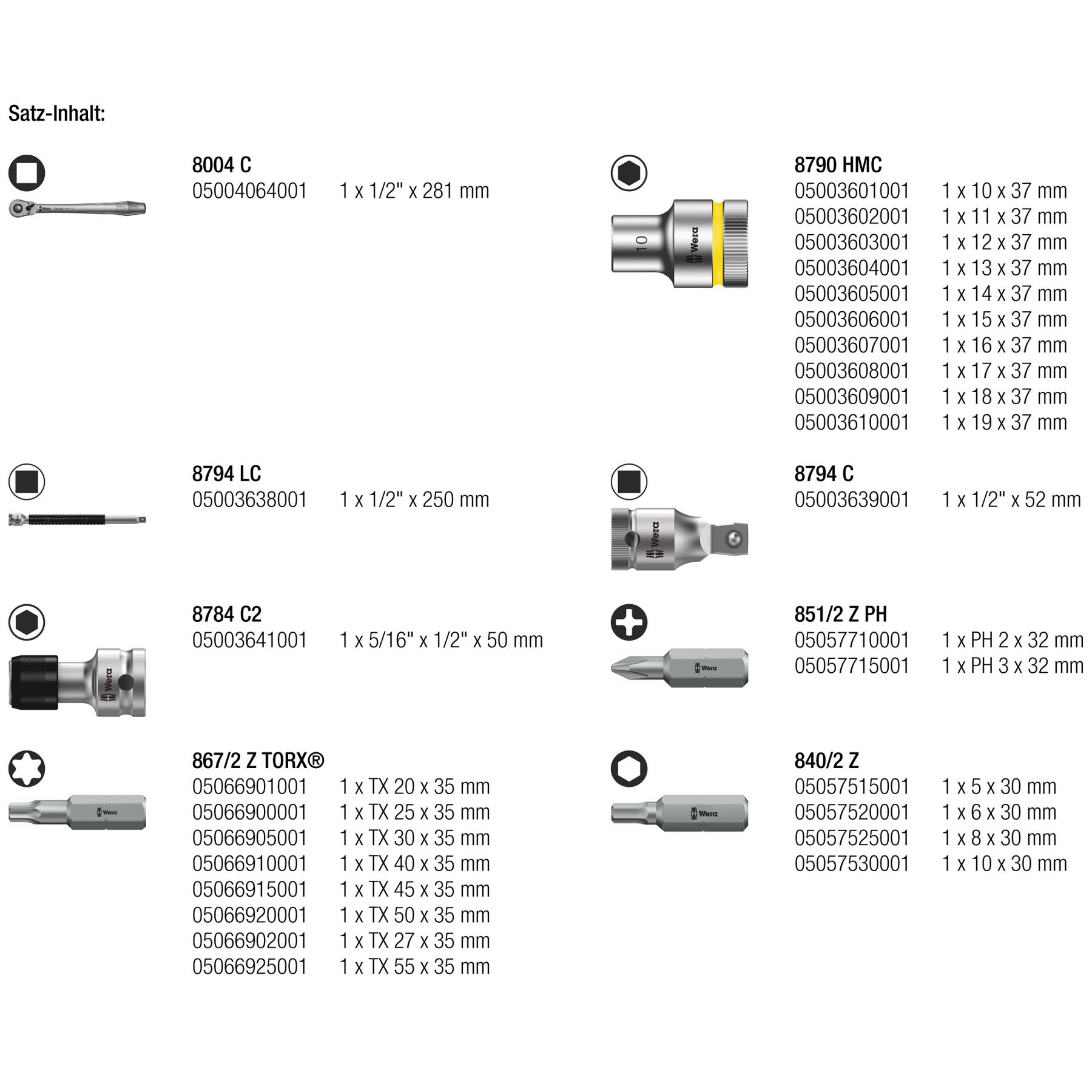 Bild von Wera 8100 SC 8 Zyklop Metal-Knarrensatz - 1/2 Zoll
