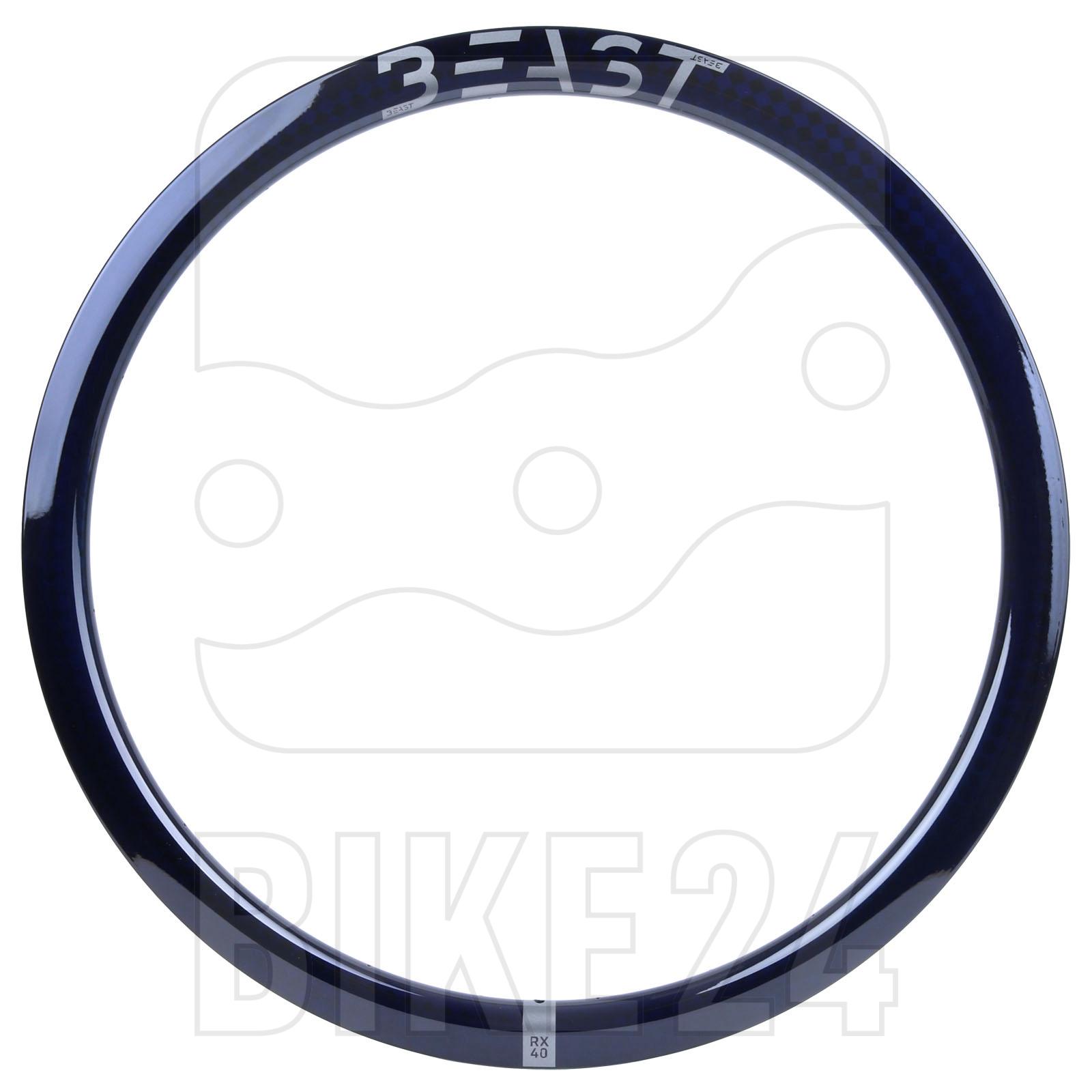 Beast Components RX40 Carbon Disc Clincher Rim - 21-622 - 24 Hole - SQUARE blue