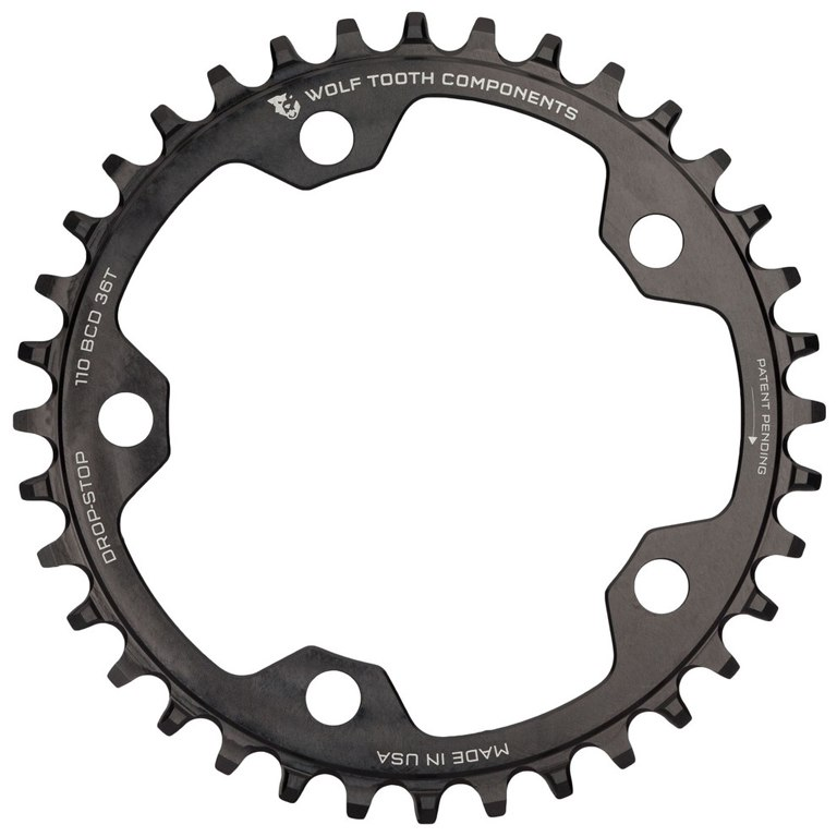 Wolf Tooth Single Road/Cyclocross Flattop Kettenblatt 110mm - Drop Stop - schwarz