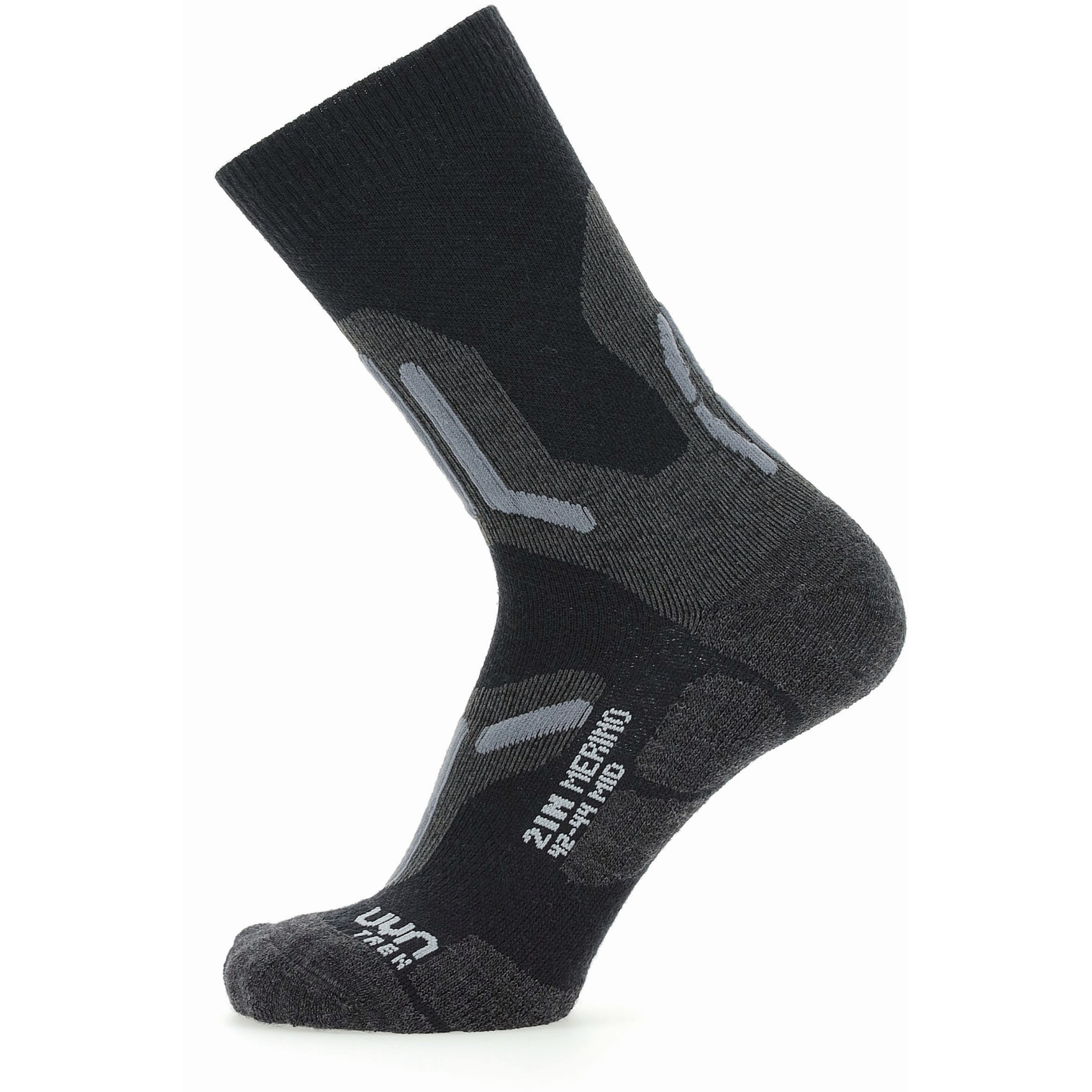 Bild von UYN Trekking 2In Merino Mid Cut Socken - Schwarz/Grau