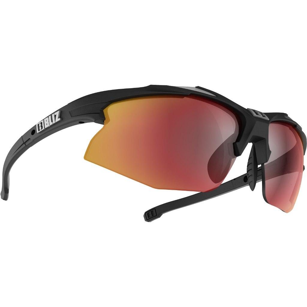 Bliz Hybrid Rubber Black-Shiny Silver / Smoke with Red Multi + Orange + Clear Glasses