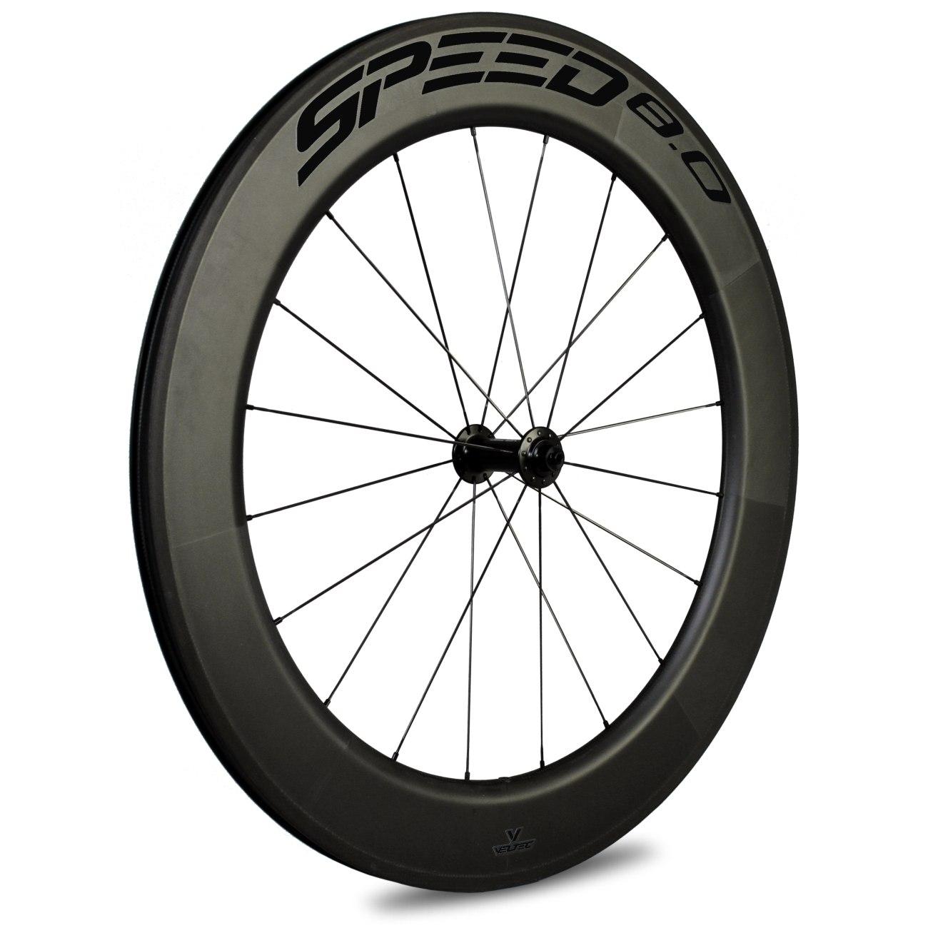 Bild von Veltec Speed 8.0 Carbon Vorderrad - Drahtreifen - QR100 - schwarz mit schwarzen Decals