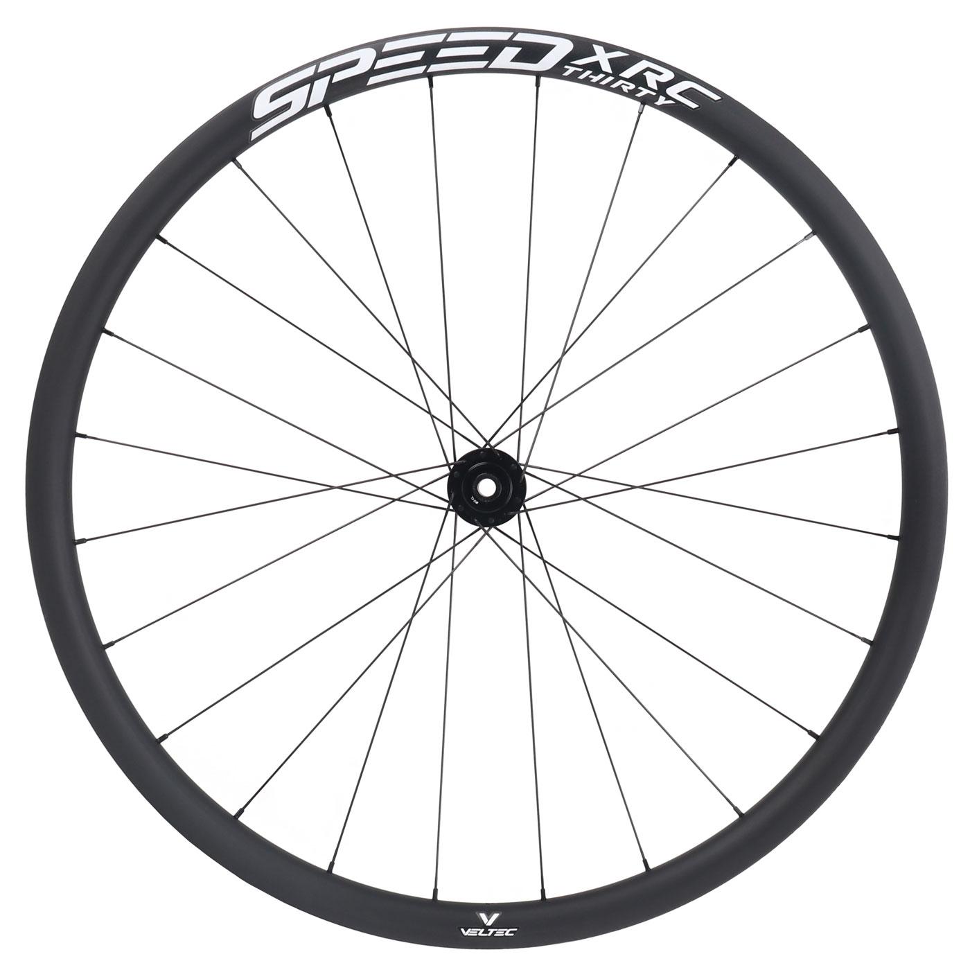 Bild von Veltec Speed XCR 30 Disc Carbon Vorderrad - Drahtreifen - 12x100mm - schwarz mit weißen Decals