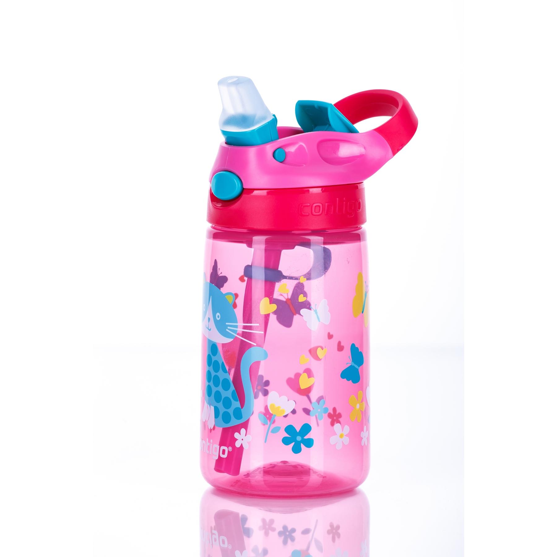 Contigo Gizmo Flip Water Bottle 420ml - cherry with cat