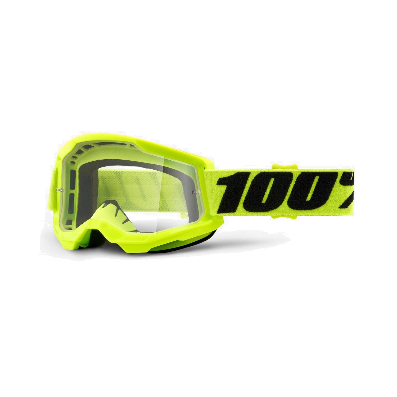 100% Strata 2 Youth Goggle Clear Lens Gafas para niños - Fluo Yellow