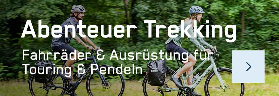 Trekkingfahrräder für Damen und Herren, Trekking-E-Bikes sowie Ausrüstung