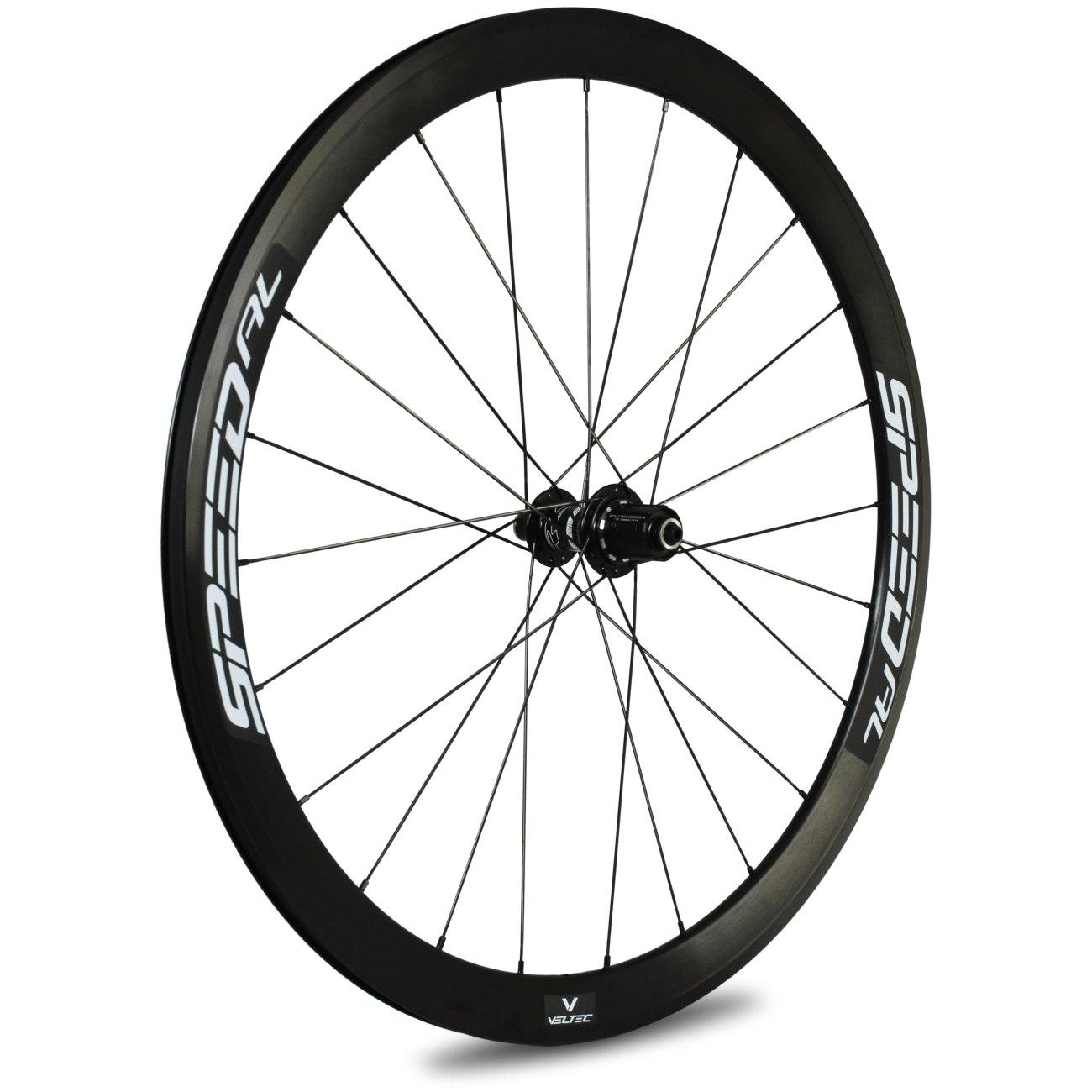 Veltec Speed AL Hinterrad - Drahtreifen - QR130 - schwarz mit weißen Decals