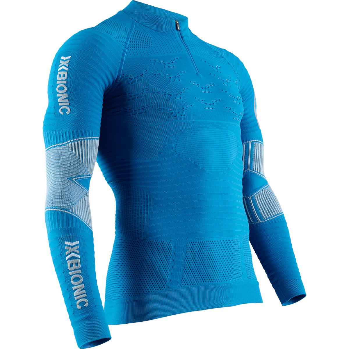 X-Bionic Effektor 4.0 Trail Run Powershirt 1/2 Zip Langarmshirt für Herren - teal blue/dolomite grey