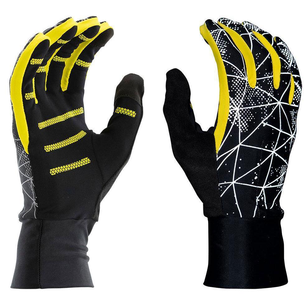 Produktbild von Nathan Sports HyperNight Men's Reflective Gloves - Galaxy Black/Vibrant Yellow
