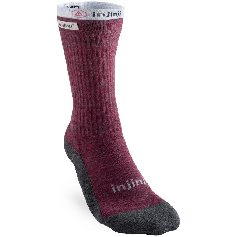 Injinji Women's Liner + Hiker Crew NuWool Socks - Maroon + Gray