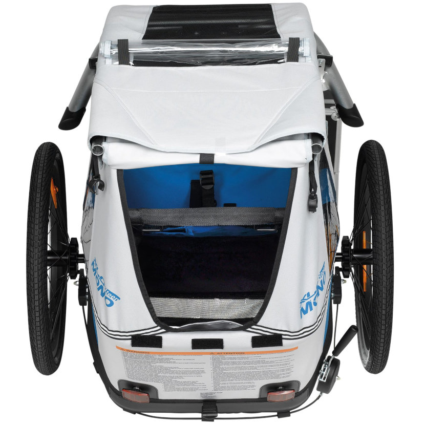 Image of XLC BS-C08 Mono 8teen Bike Trailer for 1 Kid with Cover - silver/blue