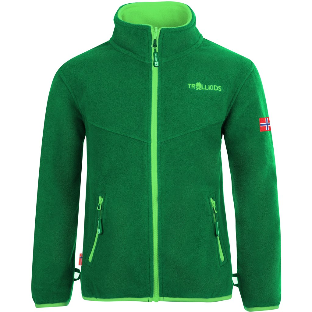 Produktbild von Trollkids Oppdal XT Kinder Fleece-Jacke - Dark Green/Bright Green