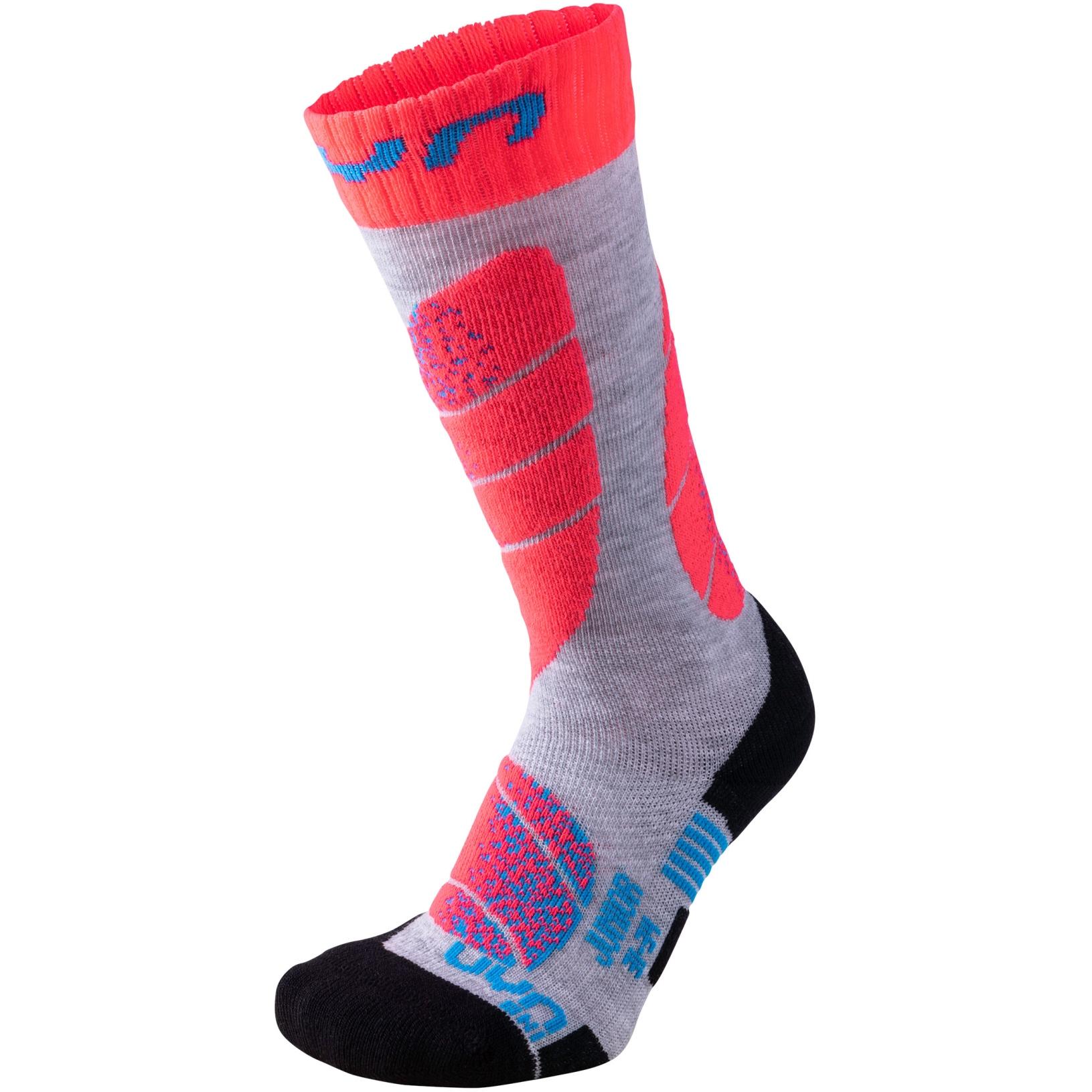UYN Ski Junior Socks - Light Grey/Coral Fluo