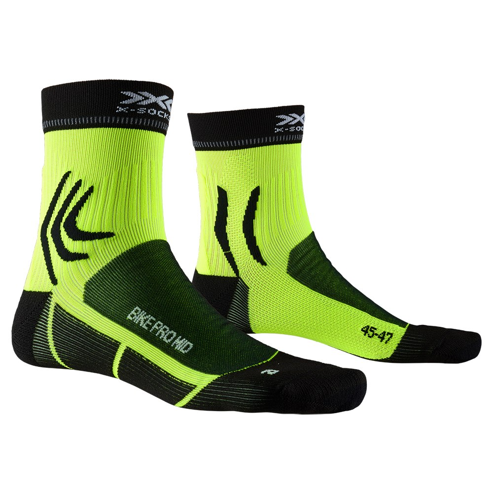 X-Socks Bike Pro Mid Socken - opal black/phyton yellow