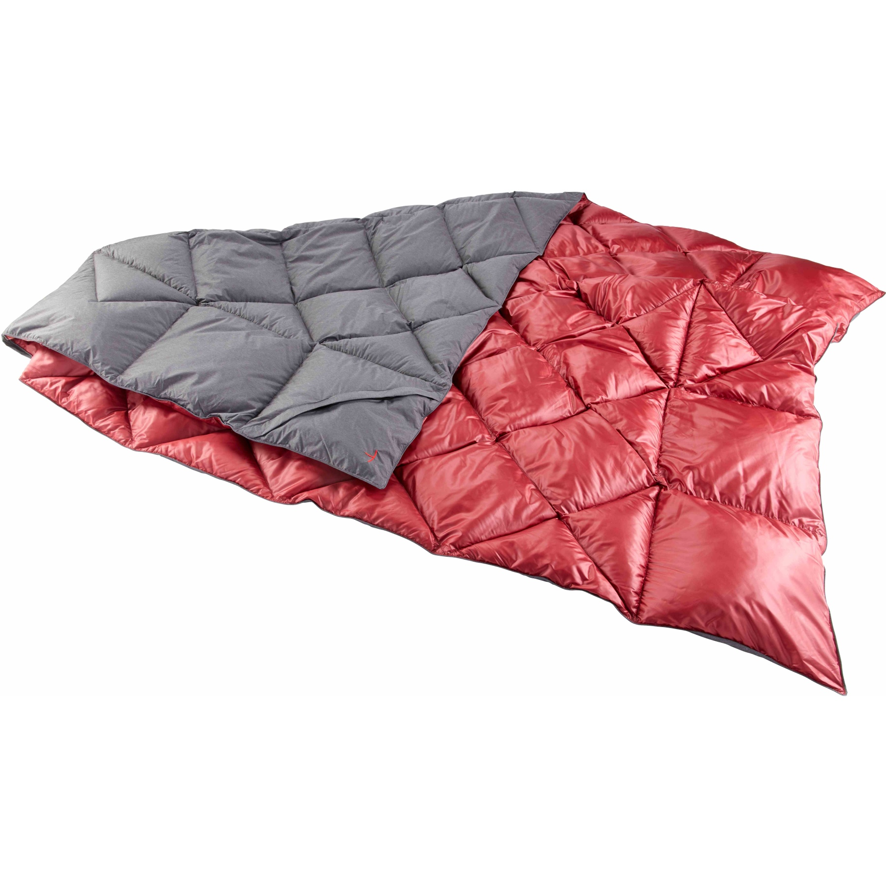 Y by Nordisk Kiby Packbare, daunengefüllte Reisedecke - coal grey/cranberry red