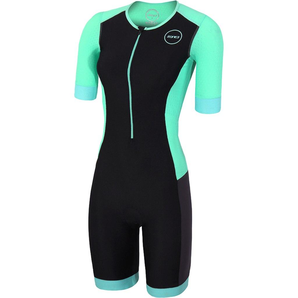 Zone3 Aquaflo Plus Damen Kurzarm Triathlonanzug - black/grey/mint