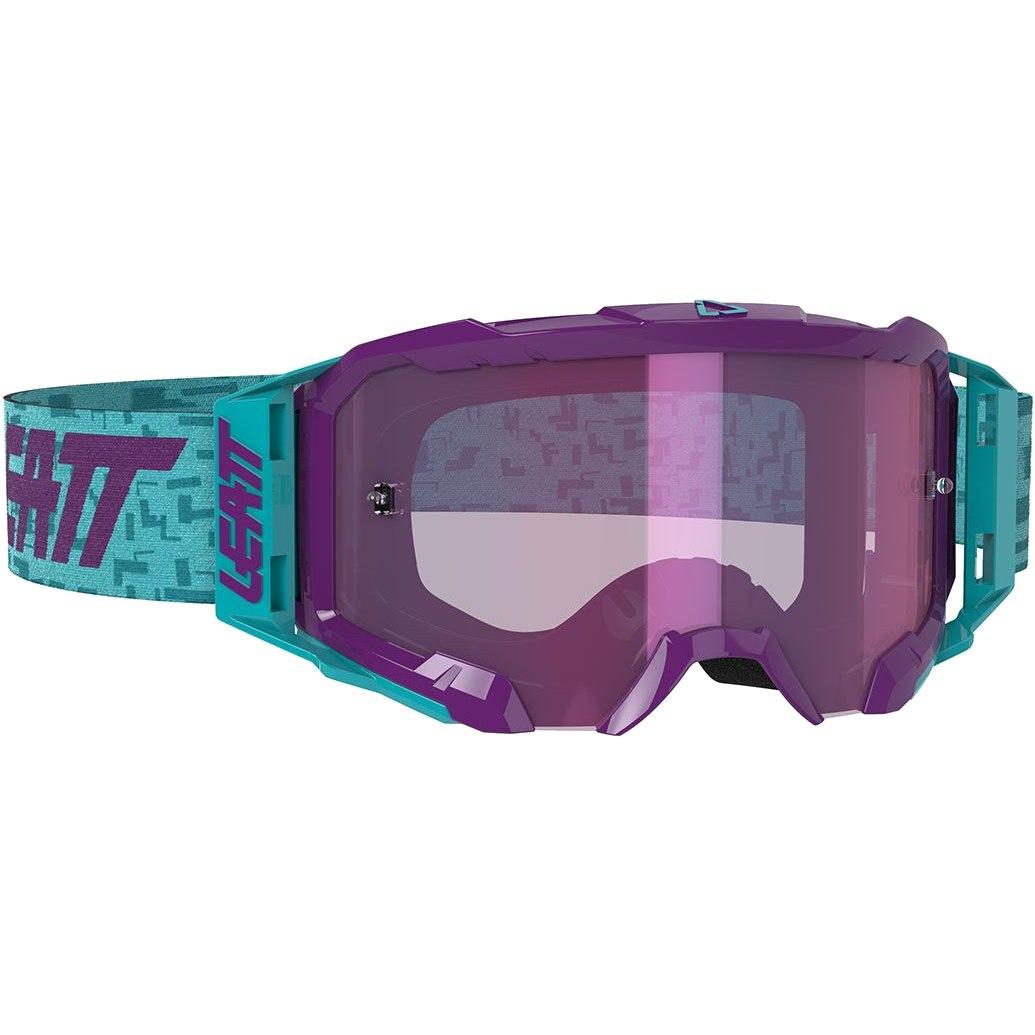 Leatt Velocity Iriz 5.5 Goggle Brille - aqua / purple - anti fog mirror lens