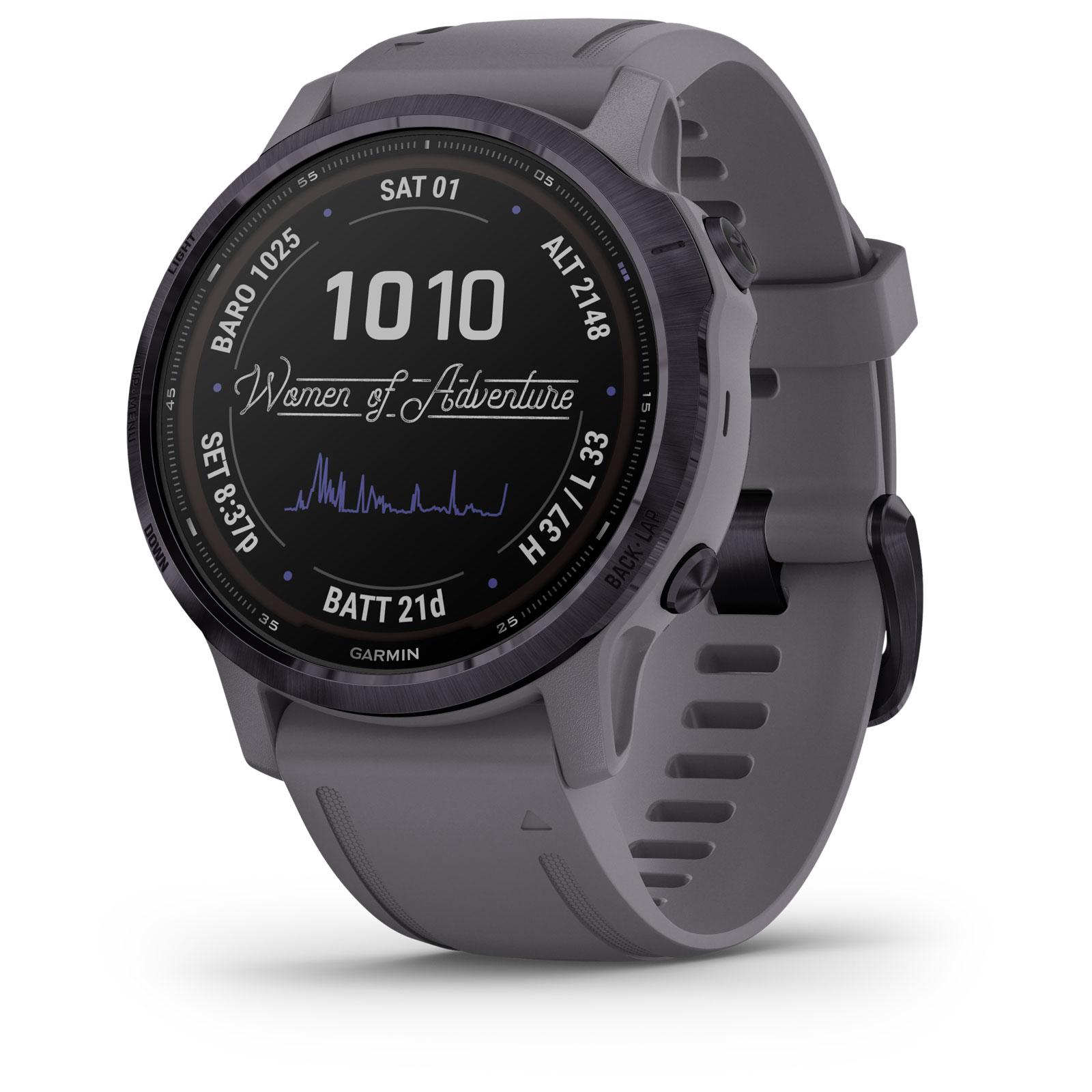 Produktbild von Garmin fenix 6s Pro Solar GPS Smartwatch - schiefergrau/lila