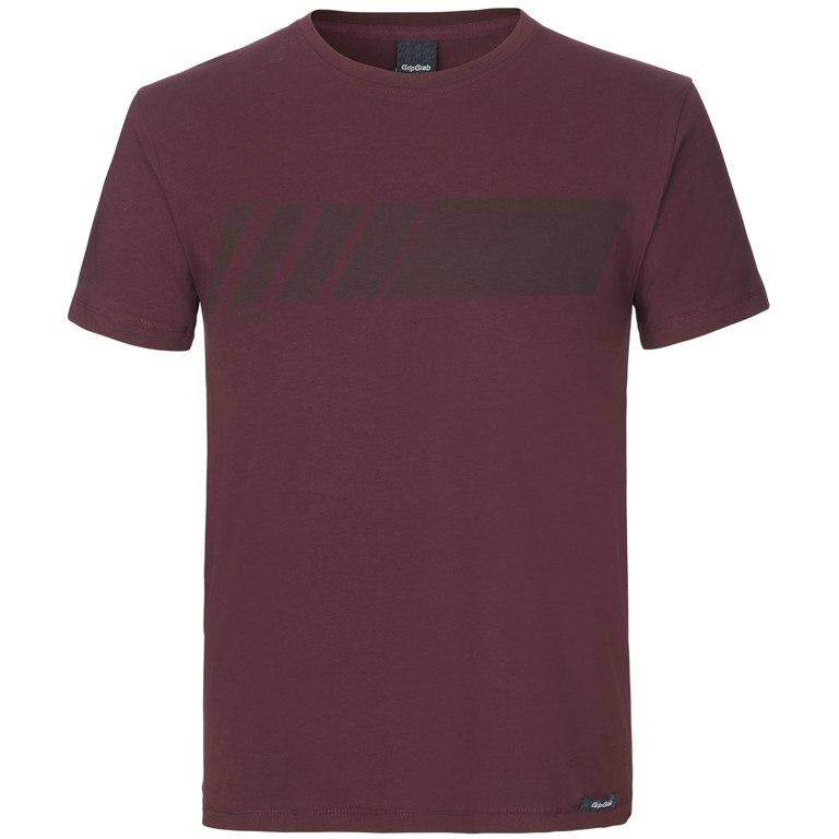 GripGrab Racing Stripe Short Sleeve Organic Cotton T-Shirt - Dark Red