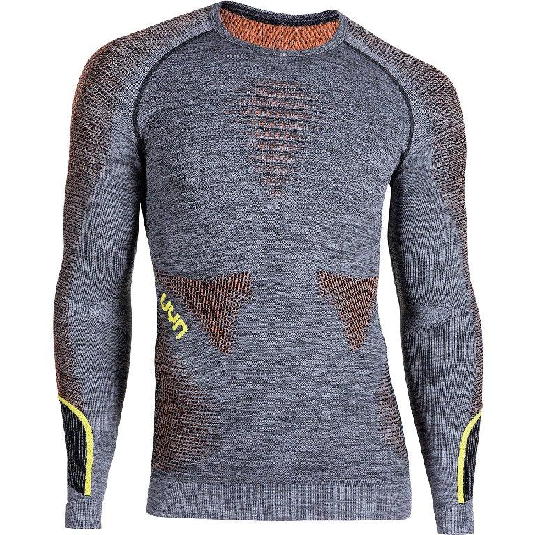UYN Ambityon Underwear Longsleeve Shirt Melange - Black Melange/Orange/Yellow