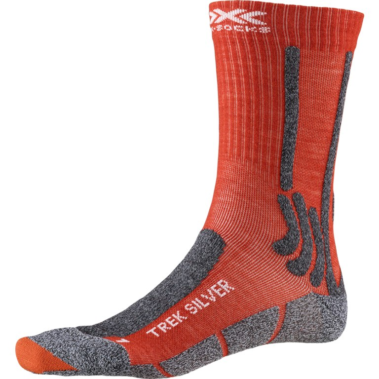 X-Socks Trek Silver Socken - crimson red/dolomite grey