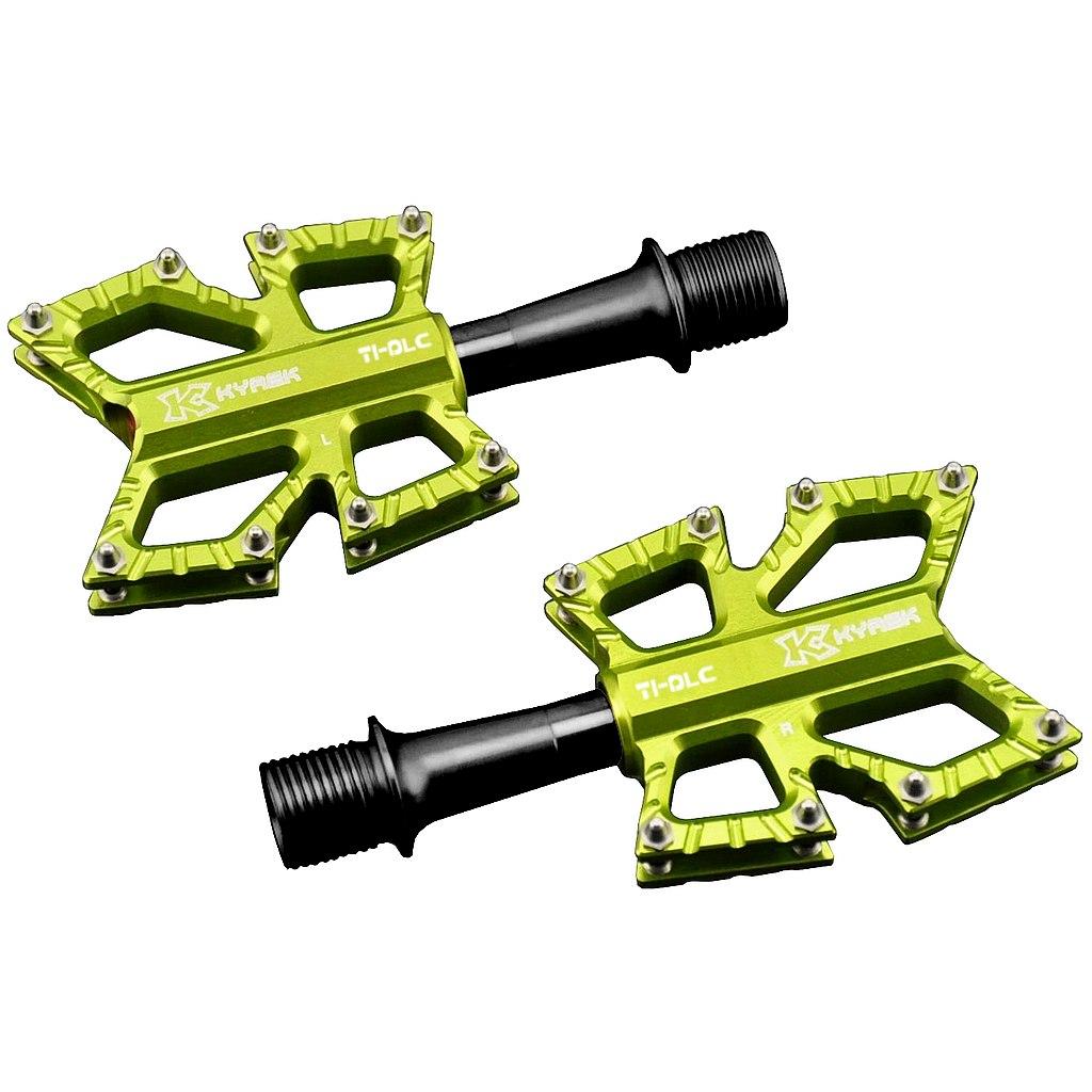 KCNC Slim Road Kyrex Platform Pedal with Titanium Axle - yellow green