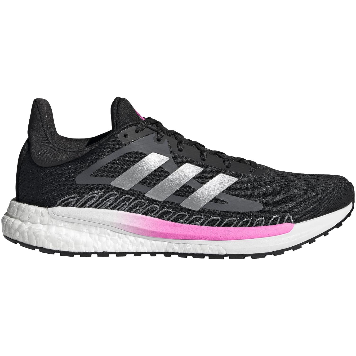 adidas Women's SolarGlide Running Shoes - core black/silver metallic/screaming pink GZ8824