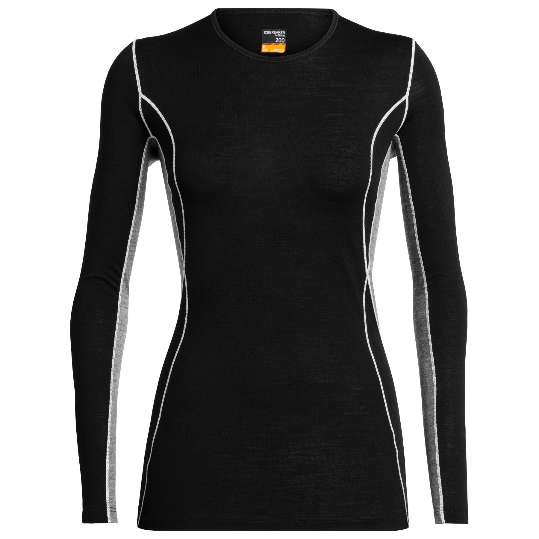 Produktbild von Icebreaker 200 Oasis Deluxe Crewe Damen Langarmshirt - Black/Gritstone HTHR