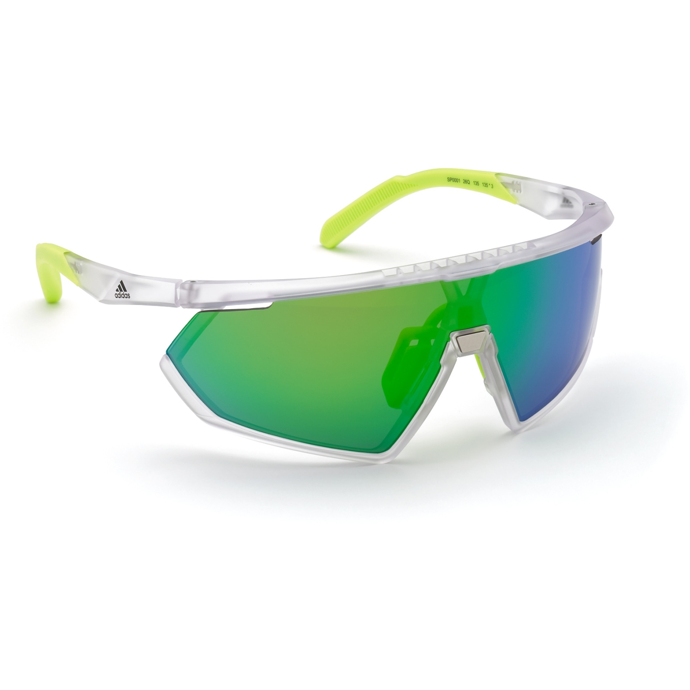 adidas Sp0001 Injected Sport Sunglasses - Frosted Crystal / Contrast Mirror Green + Orange