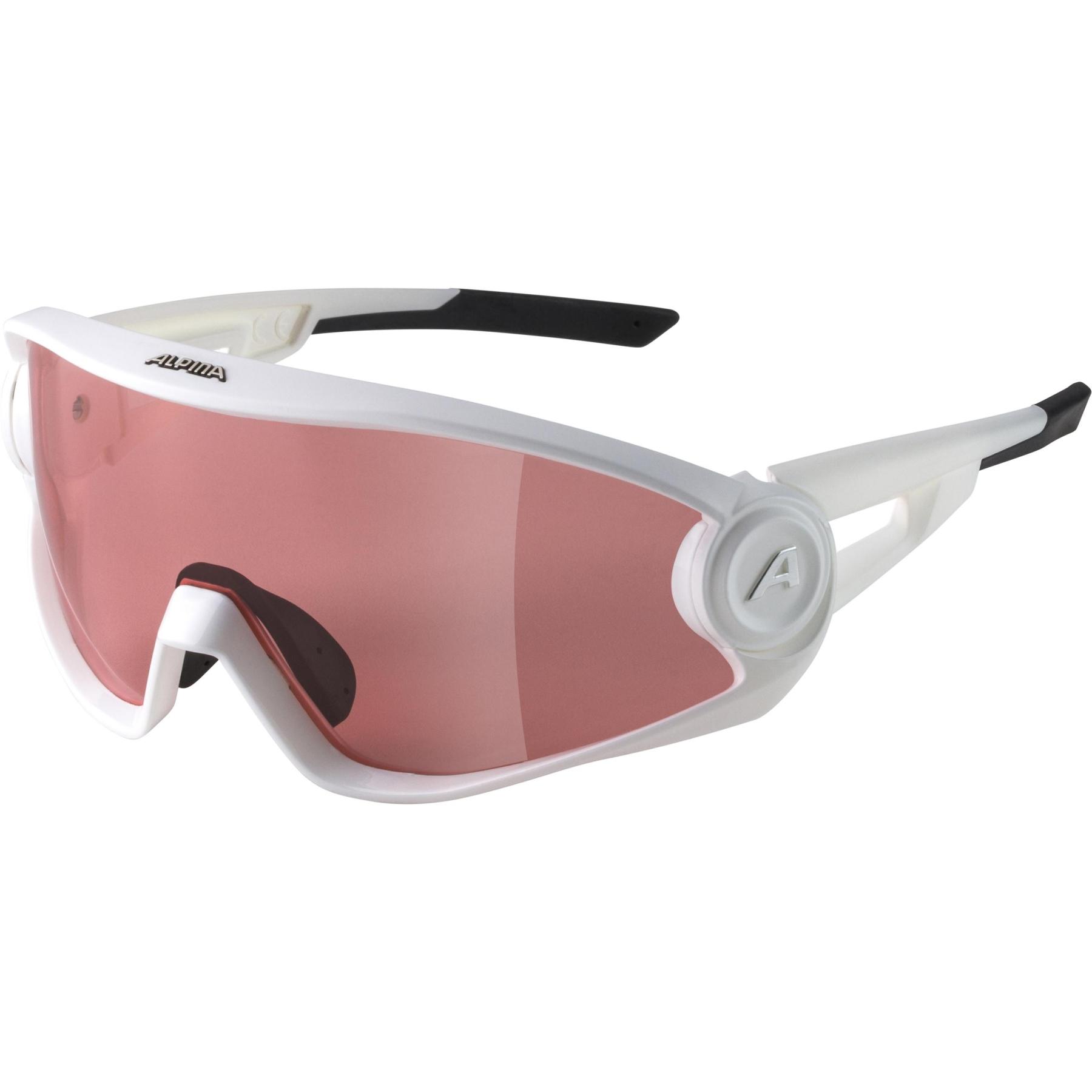 Alpina 5W1NG Q+CM Glasses - white matt / Quattroflex+ red mirror