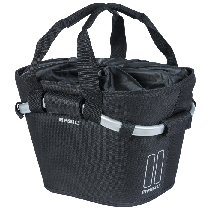 Basil Classic Carry All Front Basket - black
