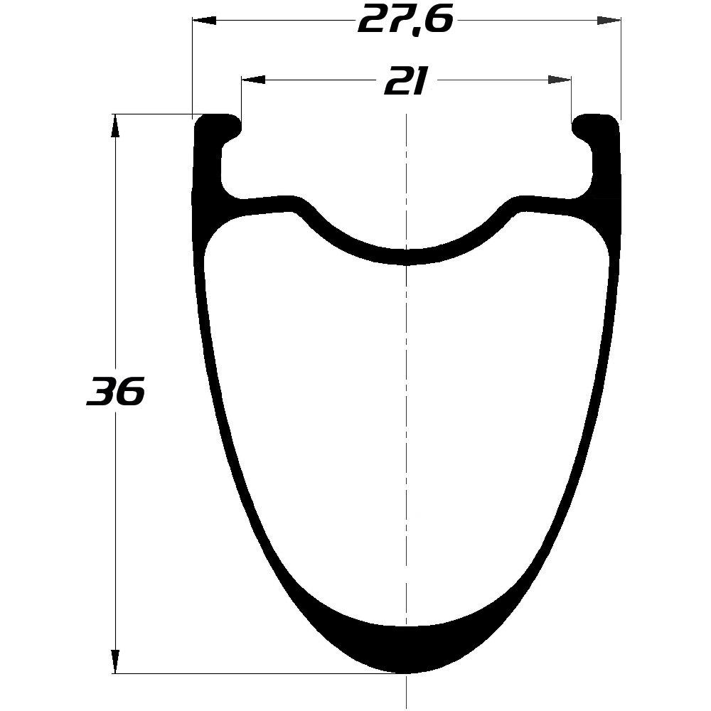 Image of DUKE Baccara 36C Ultra Disc Clincher Rim - 2mm Offset - 21-622 - 28 Holes