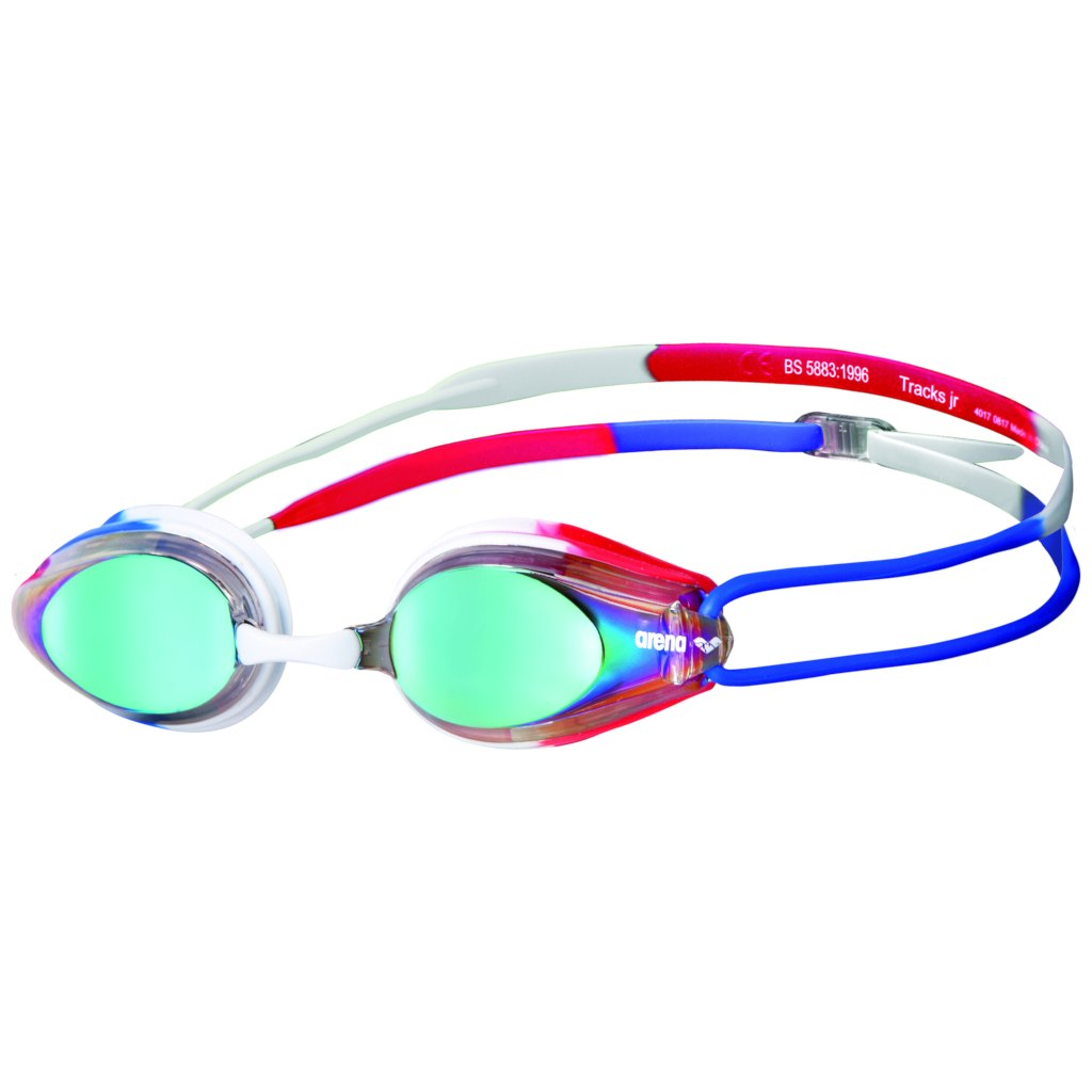 arena Tracks JR Mirror Gold/Blue/Red Kids Swimming Goggles