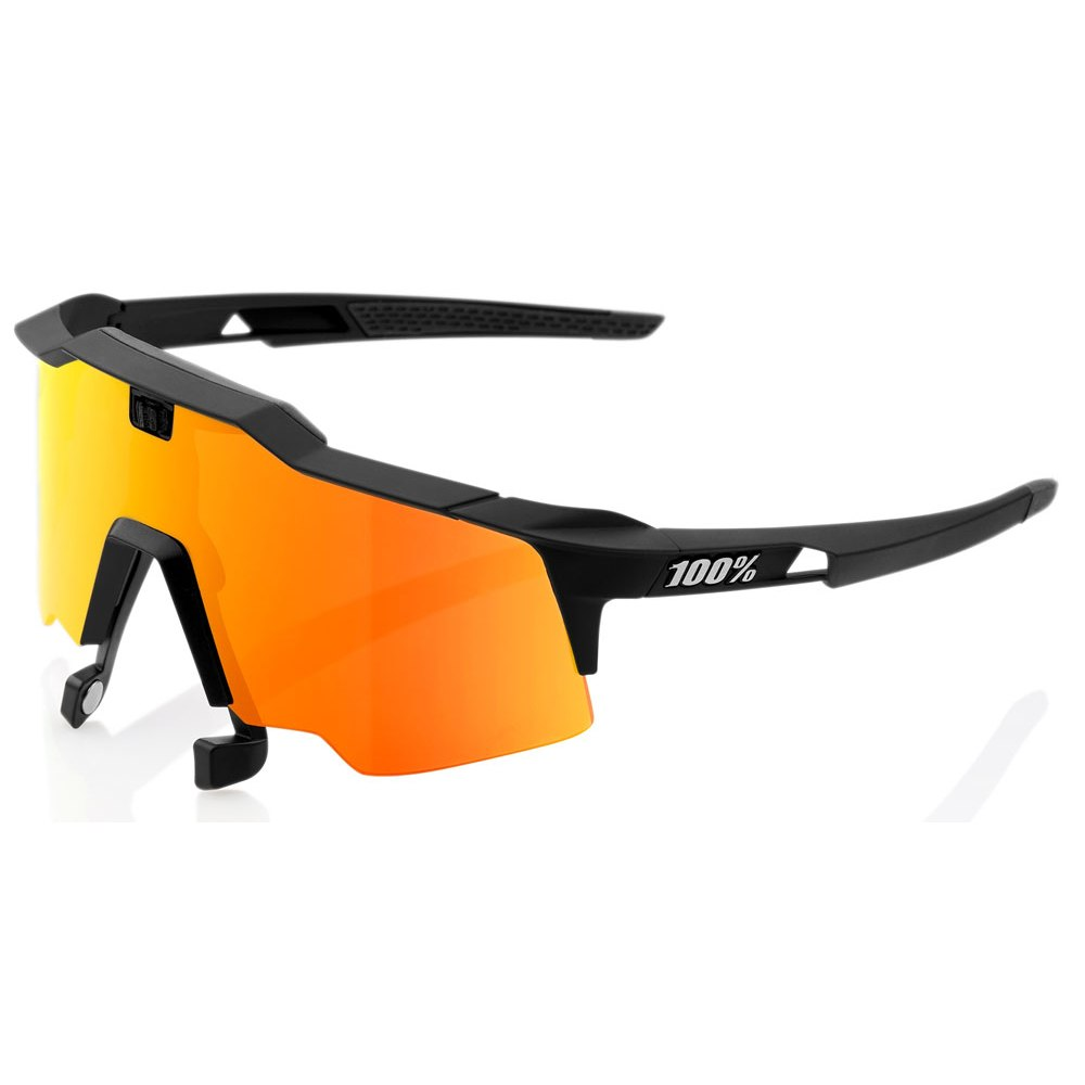 Image of 100% Speedcraft Air HiPER Red Multilayer Mirror Lense Glasses - Soft Tact Black